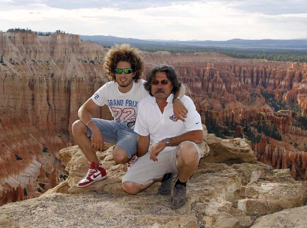 One last great father and son photo for the album. Paolo and Marco Simoncelli at Bryce Canyon.