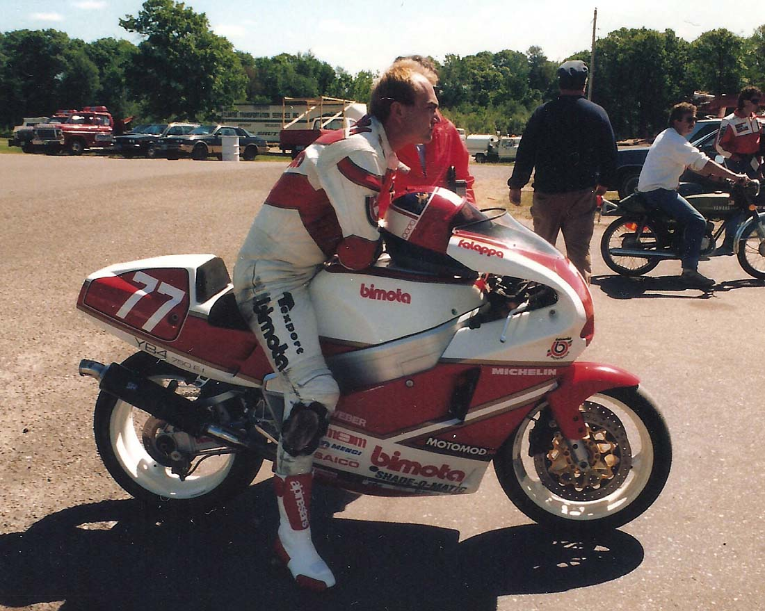 """The Lion"" on his Yamaha powered Bimota at Brianerd in 1989."