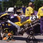 "Mike Hale's Smokin Joe's Honda RC45 Superbike in the pit lane at ""Elkhart"". Hale set the new track record on that bike."