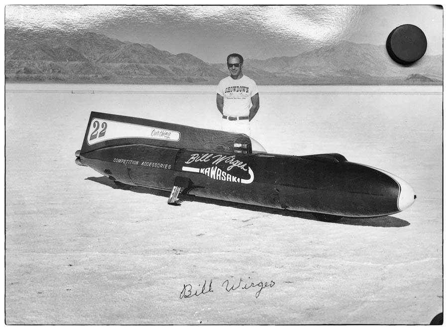 """Bill Wirges with """"Our Thing"""" on the Bonneville Salt Flats."""