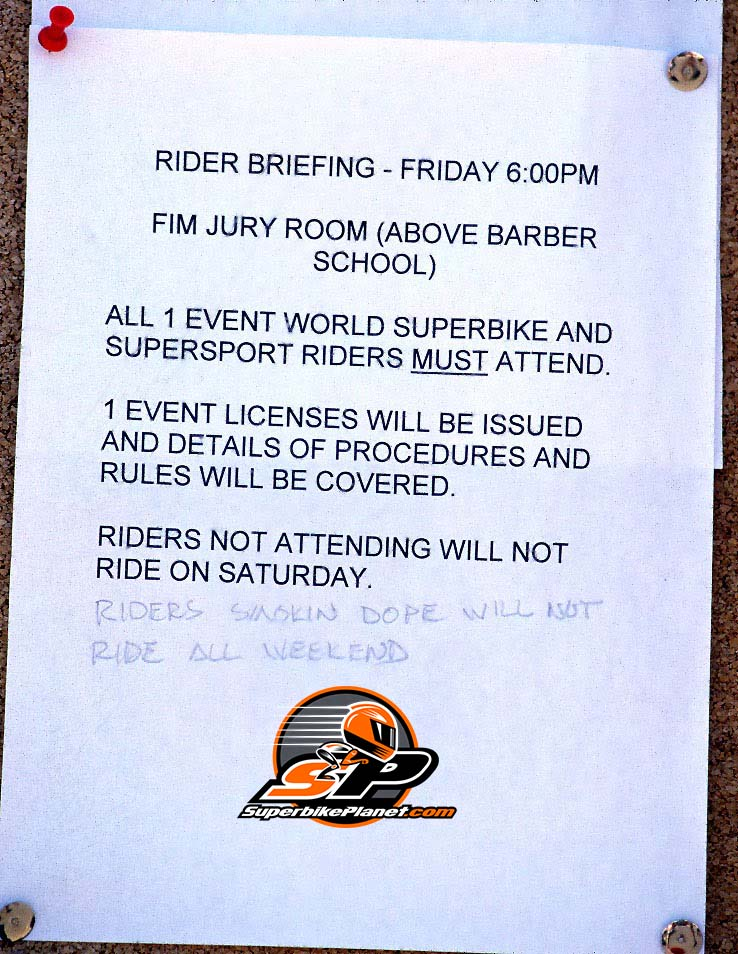 """Yes, that does rather look like Slight's penmanship doesn't it? The infamous """"note on the pole"""" at Laguna Seca 1998."""