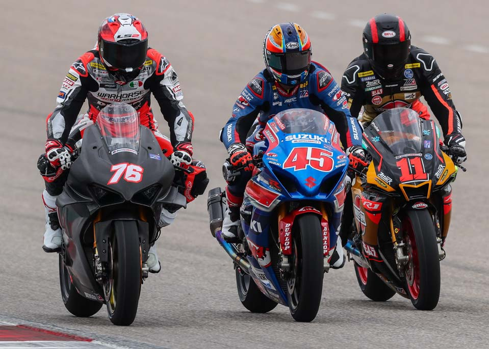 Loris Baz (76). Cameron Petersen (45) and Mathew Scholtz fly in formation at COTA.