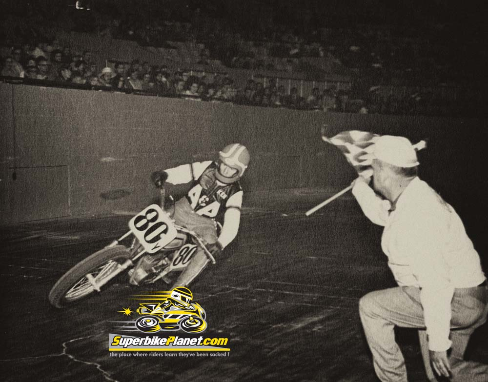 KENNY ROBERTS ON AN A&A RACING BIKE AT THE COW PALACE.