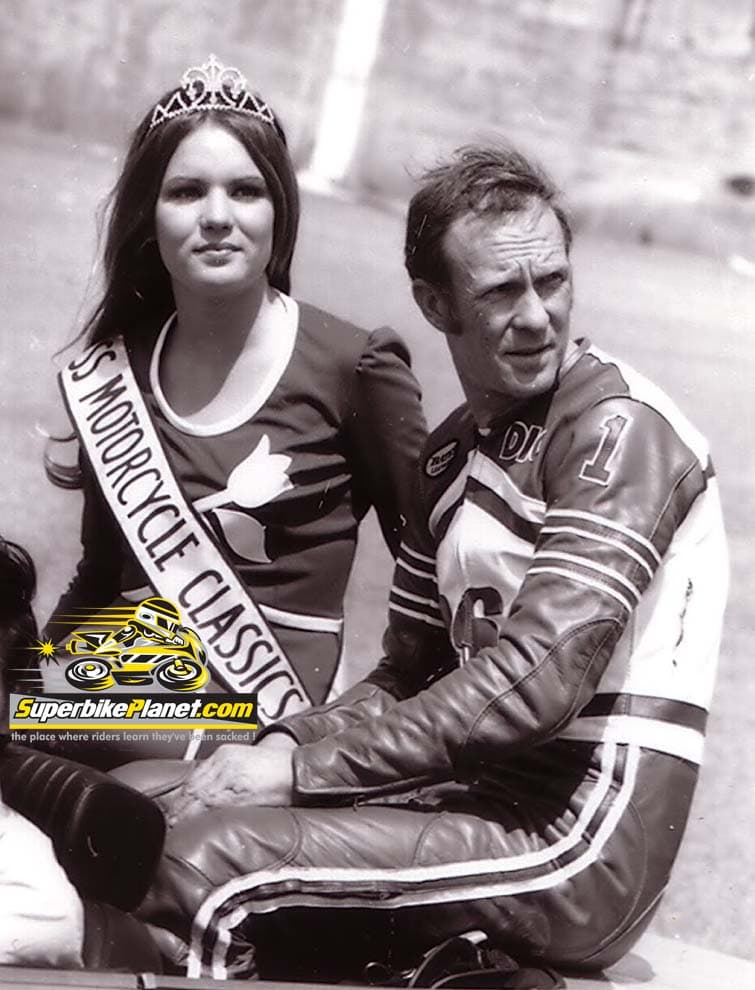 Dick Mann in a parade car at Daytona. Mann was a true legend of American motorcycle racing.