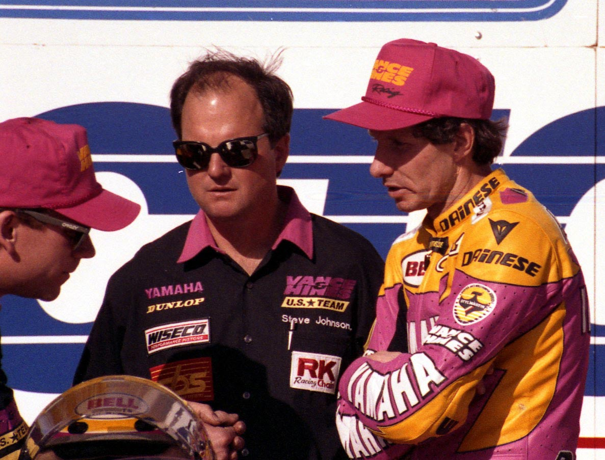 Left to right: Jim Leonard, Steve Johnson and four-time world champion Eddie Lawson discuss the numerous very bad things that happen when parts strike each other in an internal combustion engine.