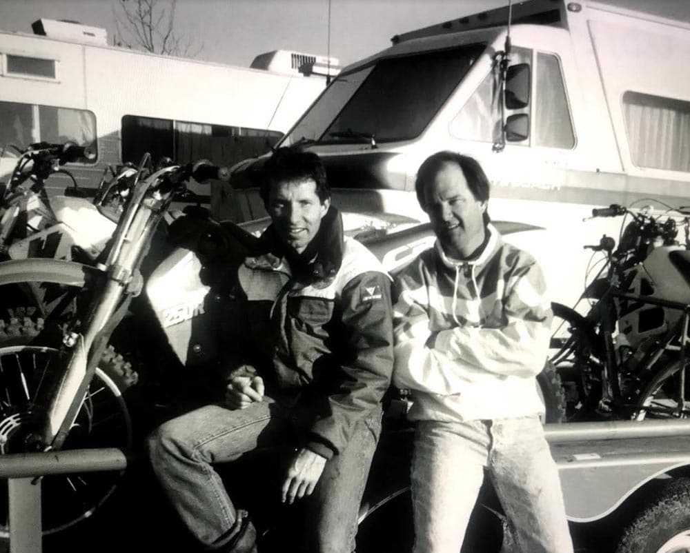 Two friends riding in the desert. Eddie Lawson and Steve Johnson.