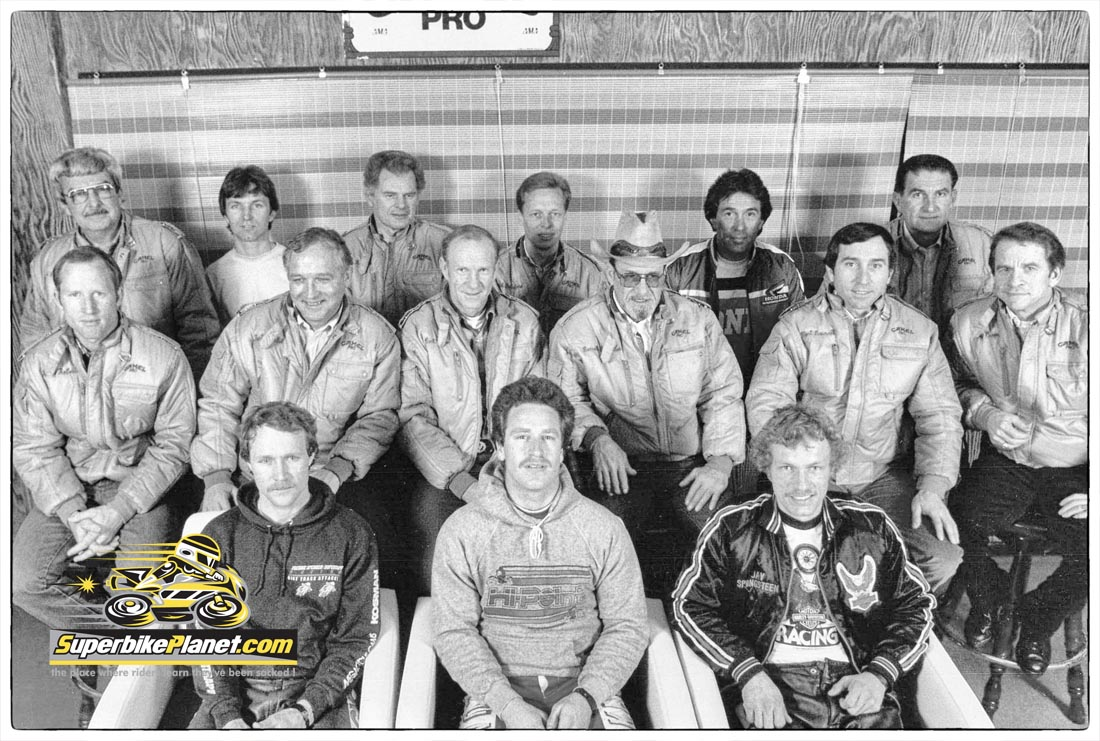 We came across one of the coolest photos ever. Circa 1981, we believe it was taken at the Houston Astrodome. It features all of the AMA Grand National Champions through 1980.